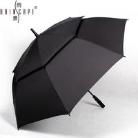 Free Shipping New Listing The rain scene super long Handle Umbrella Golf Umbrella Creative Double Drafty Men Business Umbrella