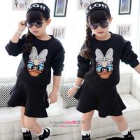 NEW Girls Clothing Sets Glasses Cartoon Pullover Sweatshirt Female Child Short Skirt Set 2014 spring and autumn