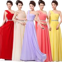 12 colors long design married formal dress one shoulder chiffon dress HL1409261