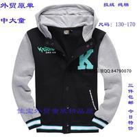 Male child 2014 100% cotton sweaters hoodie zipper sweatshirt casual long-sleeve sports outerwear