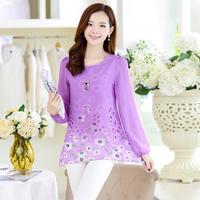 2014 autumn fancy medium-long plus size set fashion loose chiffon shirt women send necklace