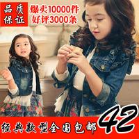 2014 autumn female child spring and autumn denim outerwear child lace denim coat children's clothing