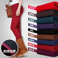 Thick legging plus velvet thickening winter elastic high waist plus size slim women's jeans female