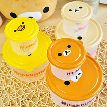 Two Piece Set crisper Lovely cartoon bear preservation box bird pattern container plastic stored box lunch box child tableware(China (Mainland))