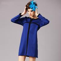 2014 autumn Crisscross patchwork blue dress with long sleeve Ladies Plus Size casual dress