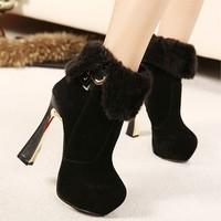 Free shipping Autumn and winter boots 2014 women's ultra high heels shoes velvet platform buckle boots short