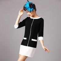 White&Black Patchwork Straight Dresses 2014 Autumn Fashion Plus Size three quarter sleeve casual dress
