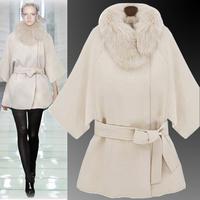 2014 Plus Size Female Raccoon Fur Collar Coat Cloak Cashmere Woolen Outerwear Black And White Color Fashion Outerwear