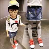 2014 autumn female child all-match long johns casual trousers thread patchwork denim basic slim hip skirt pants