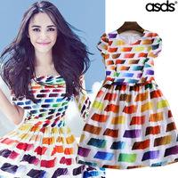 Women Summer Dress 2014 Supernova Sale Rainbow Dresses Evening Vintage Party Novelty Casual Dress