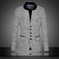 High Quality 2014 New Arrival Chinese Blazer Men Stand Collar Men's Suit Fashion Suits Slim Fit Jacket Plus Size 5XL 6XL