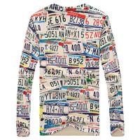 Trend 3d print long-sleeve loose pop generous  leisure package temperament perfect slim lovely simple  men's style T-shirt
