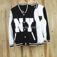 New 2014 HARAJUKU women's letter NY Back five-pointed star No.23 baseball uniform outerwear women casual jacket Free Shipping