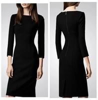 Women's 2014 fashion slim autumn one-piece dress lady solid work office casual black dress