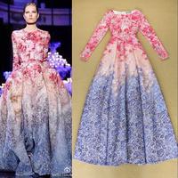 2014 New Arrival Autumn Runway Designer Prom Dress Women's Long Sleeves Gorgeous Gradient Color Print Floor Length Evening Dress