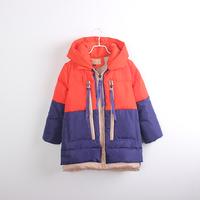 Female child color medium-long block decoration thickening down coat child down coat boutique children's clothing