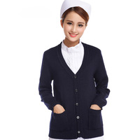 Sweater Outerwear Cardigan V-neck Thickening Navy Blue Nurse Clothing Female Sweater Winter Free Shipping M-413