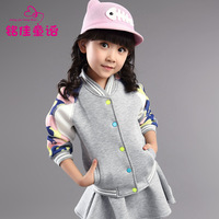 Child women's 2014 spring and autumn little girl big boy long-sleeve male child cardigan top female child outerwear