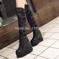 2014 new Autumn high heels shoes elevator boots platform knee-length boots stretch fabric boots waterproof winter boots women