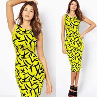 Fashion summer dress elegant 2014 o-neck slim elastic mid waist sleeveless pencil dress slim hip sheath one-piece dress