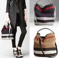 Real leather + Canvas Bags Plaid casual Bag Women Handbag Tote shoulder bag cowhide leather Handbag designer check bucket bag
