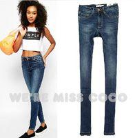 MISS COCO 2014 Autumn New Simple High- Waist Good Shape Slim Skinny Denim Jeans for Ladies Women 1677