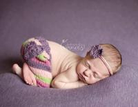 Crochet Flower Headress Baby Girls' Caps Pants Handmade Newborn Photography Props Costume Set
