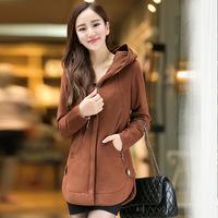 Plus size clothing plus size autumn outerwear mm thickening zipper long-sleeve fleece sweatshirt cardigan female