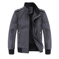 male slim pure grey woolen stand collar thickening jacket wadded jacket outerwear 1131