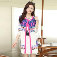 Free Shipping Spring woman loose knit cardigan sweater jacket printing long section Ethnic shawl coat