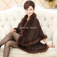 new arrival 2014 fashion plus size clothing woolen cloak fur patchwork women's outerwear trench fox fur coat