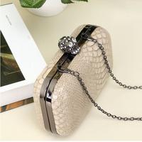Desigual Skull Evening Bag Serpentine Women Hand Bag Shoulder Chain Box Clutch Bags Skull Button Messenger Bag, Free shipping