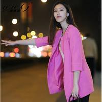 2014 autumn elegant medium-long all-match ladies three quarter sleeve female blazer outerwear coat