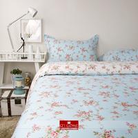 100% cotton bedding cotton rustic american princess Blue Flower Duvet Cover Set 220*240cm  Quiltcover