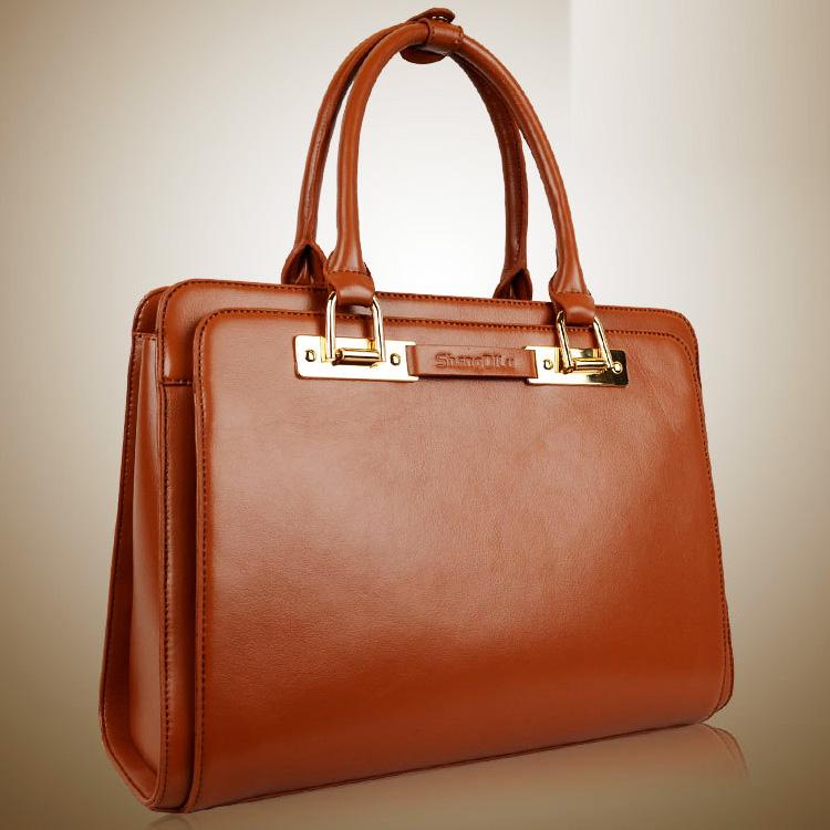 Fashion shoulder bag briefcase women's shaping genuine leather handbag women's bags 2014 bag high quality simple casual bag(China (Mainland))