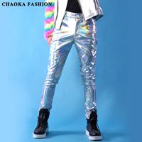 2014 new fashion Male Laser PU casual trousers men's pants costume dj show