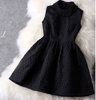 2014 autumn one-piece dress female sleeveless tank pearl lace dress