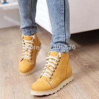 2014 women autumn winter martin boots flat heel platform casual lace-up large pluse size 40-43 shoes