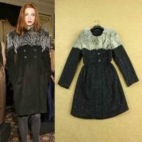 Top fashion 2014 winter woman clothes elegant fur collar overcoat lurex woolen coat