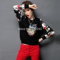 Fashion plus size lace long-sleeve T-shirt women's gold velvet lace patchwork bottoming shirt Diamond black tops
