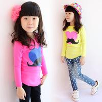 2014 spring and autumn child t-shirt female child long-sleeve 100% love print o-neck cotton elastic candy basic shirt