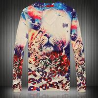 2014 autumn 3d tiger print long-sleeveslim fashion Elastic temperament korean comfortable Autumn and winter  t-shirt