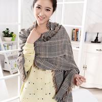 Fashion british style wrap plaid thickening tassel scarf winter Women warmer cape