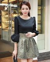 Fashion luxury gold thread embroidery peacock decorative pattern lantern sleeve one-piece dress