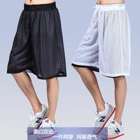 2014 hot styles Double faced sports shorts  running knee-length pantsthin basketball pants mesh shorts breathable capris