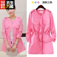 2014 autumn slim medium-long wrist-length sleeve single breasted trench women's thin outerwear