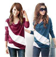 2014 autumn women's slim plus size patchwork stripe top basic t-shirt long-sleeve T-shirt Women M-L-XL-XXL free shipping