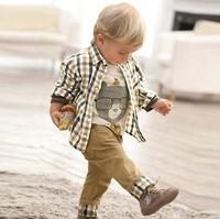 Free Shipping! spring autumn baby clothes set cool boy 3 pcs suits pleaid  t-shirt+shirt+pants children garment Wholesale Retail