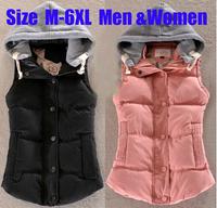 Autumn & Winter Plus Size M - 6XL Down Cotton-Padded Vest Jacket For Couple Slim Thermal Cotton Velvet Vest With Hood Waistcoat