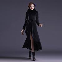 2014 slim quality elegant woolen outerwear long design fox fur women's overcoat